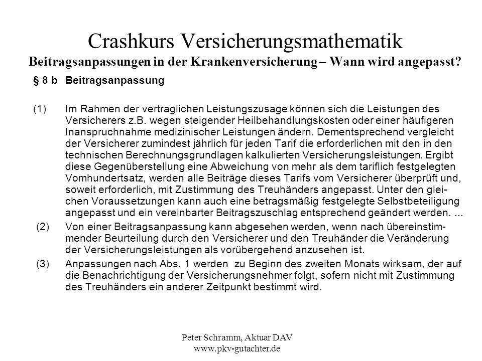 Peter Schramm, Aktuar DAV www.pkv-gutachter.de Crashkurs Versicherungsmathematik Beitragsanpassungen in der Krankenversicherung – Wie wirken sich Beitragsanpassungen im Bestand aus.