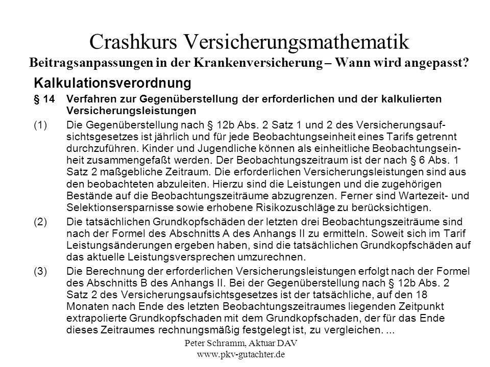 Peter Schramm, Aktuar DAV www.pkv-gutachter.de Crashkurs Versicherungsmathematik Beitragsanpassungen in der Krankenversicherung – Wie wird angepasst.