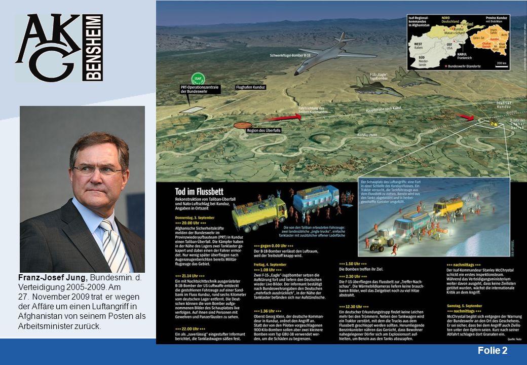 Folie 2 Franz-Josef Jung, Bundesmin. d. Verteidigung 2005-2009. Am 27. November 2009 trat er wegen der Affäre um einen Luftangriff in Afghanistan von