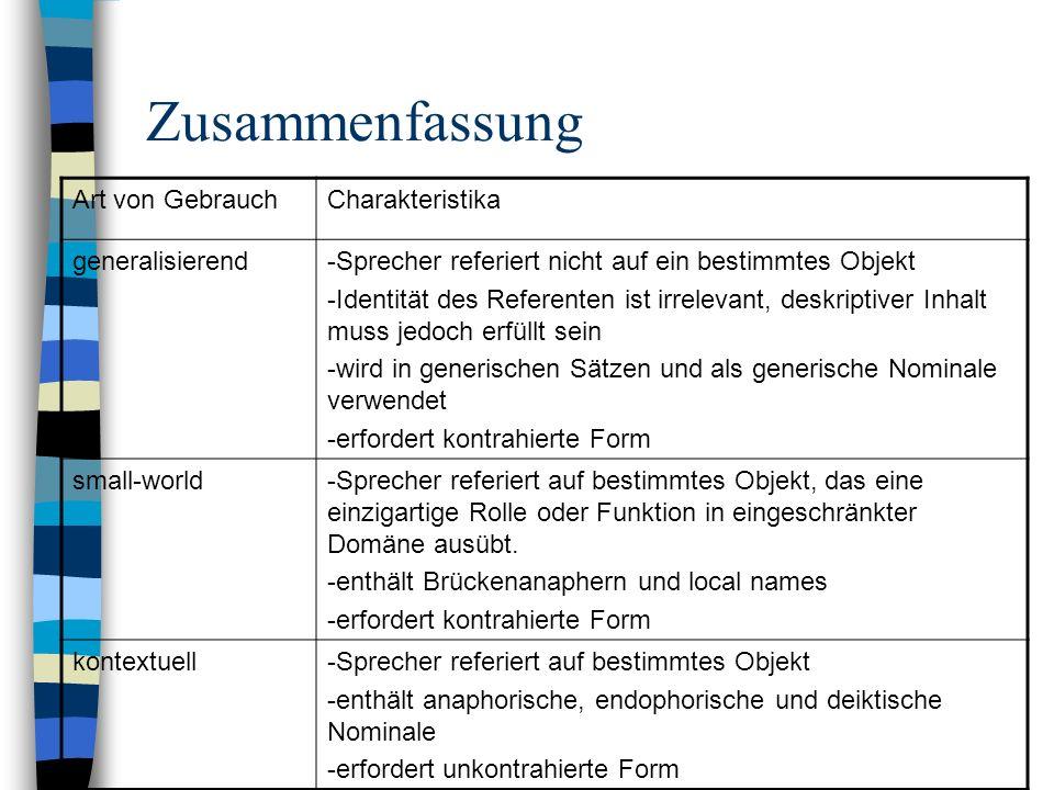 Zusammenfassung Art von GebrauchCharakteristika generalisierend-Sprecher referiert nicht auf ein bestimmtes Objekt -Identität des Referenten ist irrel