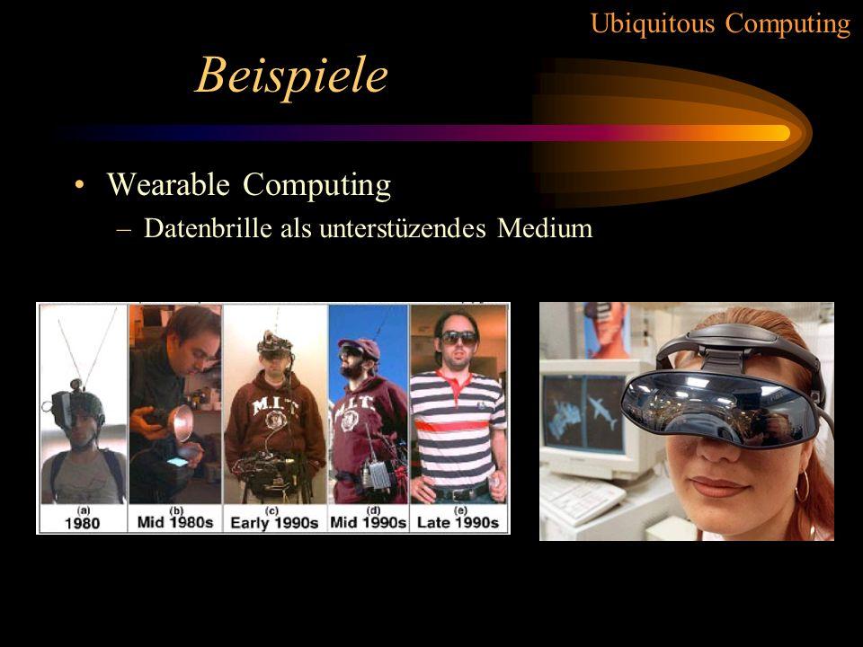 Ubiquitous Computing Forschung / Probleme 9.) Sicherheit / Privatsphäre –Wissen der Geräte könnte ausgenutzt werden –wie leistet man Datensicherheit b