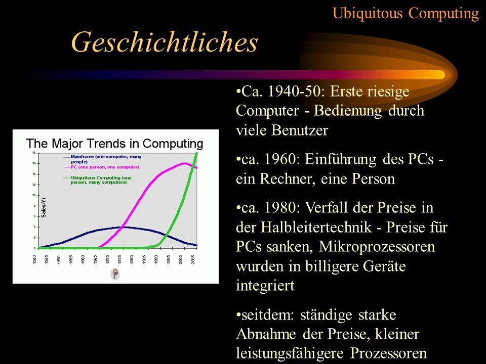 Ubiquitous Computing Forschung / Probleme 5.) Zeitsynchronisation –viele Produkte erschweren Synchronisation –wünschenswert um Abläufe zu steuern –zentrale Steuerung problematisch –Referenzzeit?
