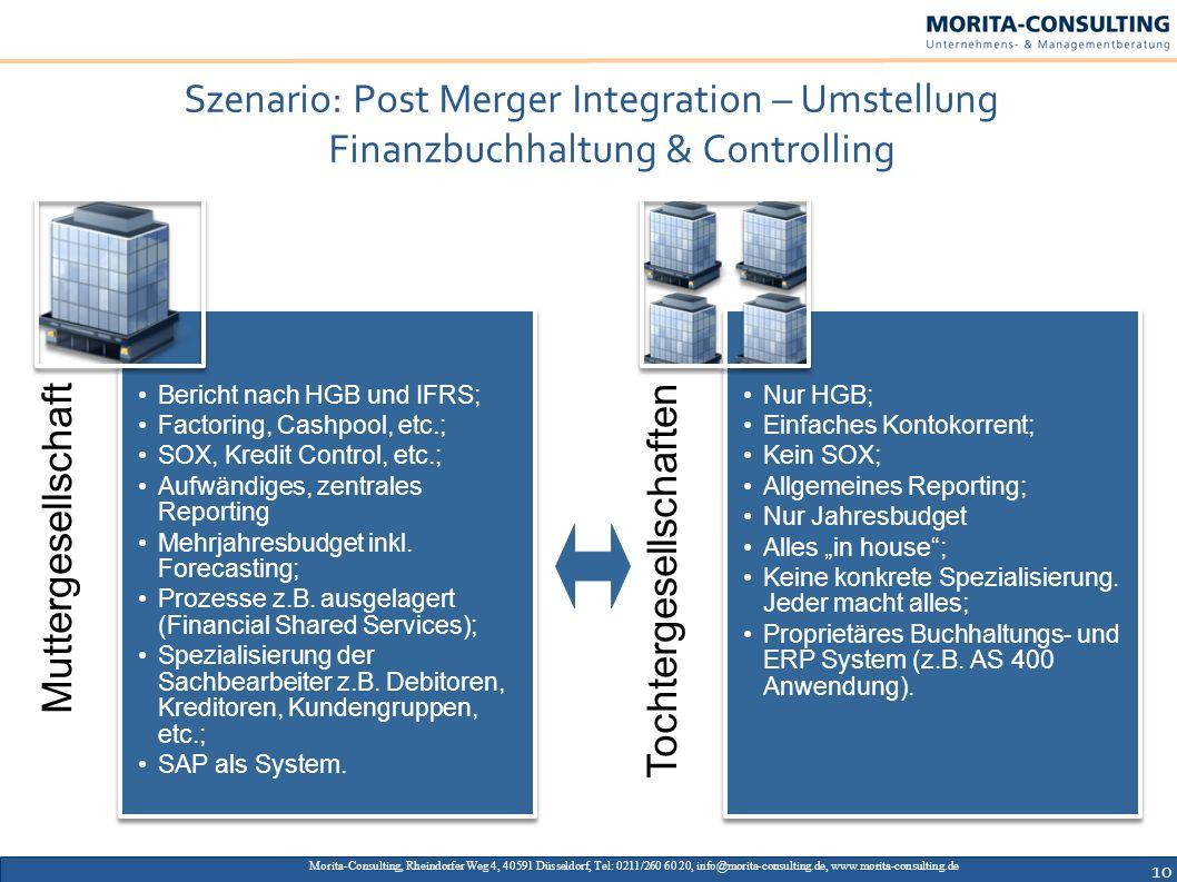 Szenario: Post Merger Integration – Umstellung Finanzbuchhaltung & Controlling Morita-Consulting, Rheindorfer Weg 4, 40591 Düsseldorf, Tel: 0211/260 6
