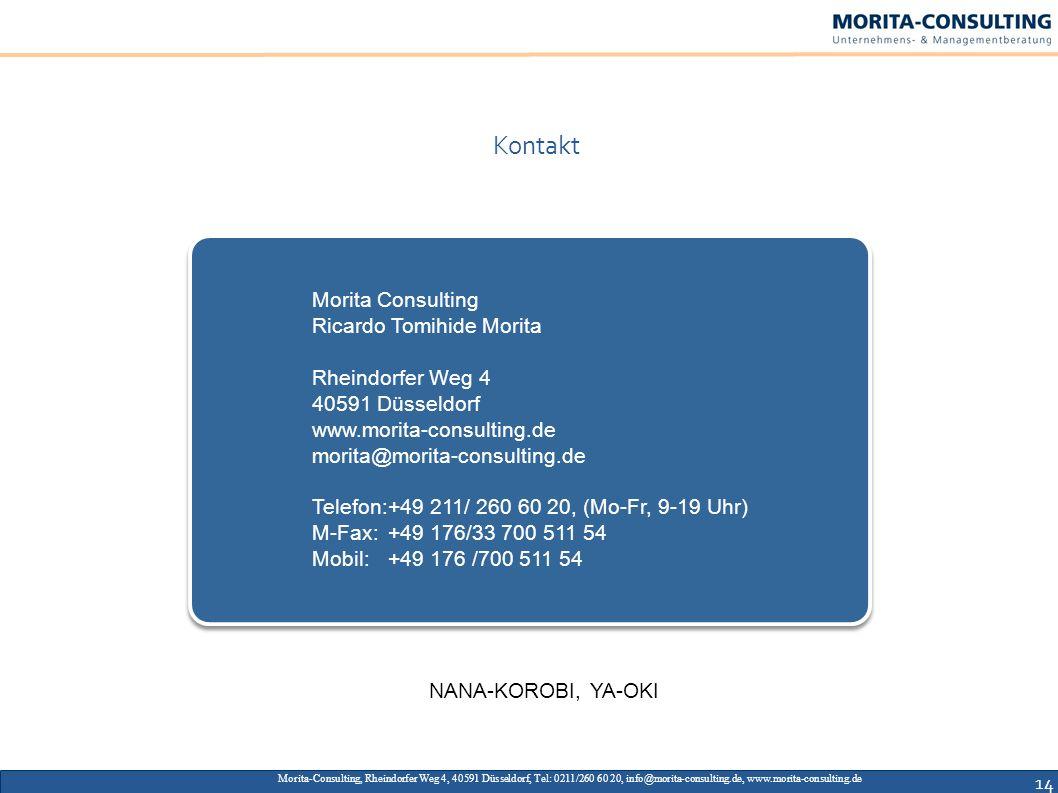 14 Morita-Consulting, Rheindorfer Weg 4, 40591 Düsseldorf, Tel: 0211/260 60 20, info@morita-consulting.de, www.morita-consulting.de Kontakt Morita Con