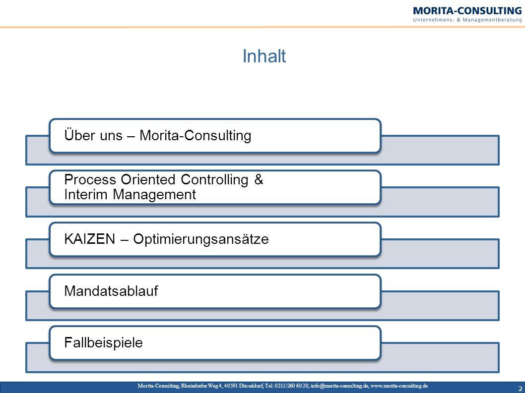 2 Inhalt Über uns – Morita-Consulting Process Oriented Controlling & Interim Management KAIZEN – OptimierungsansätzeMandatsablaufFallbeispiele