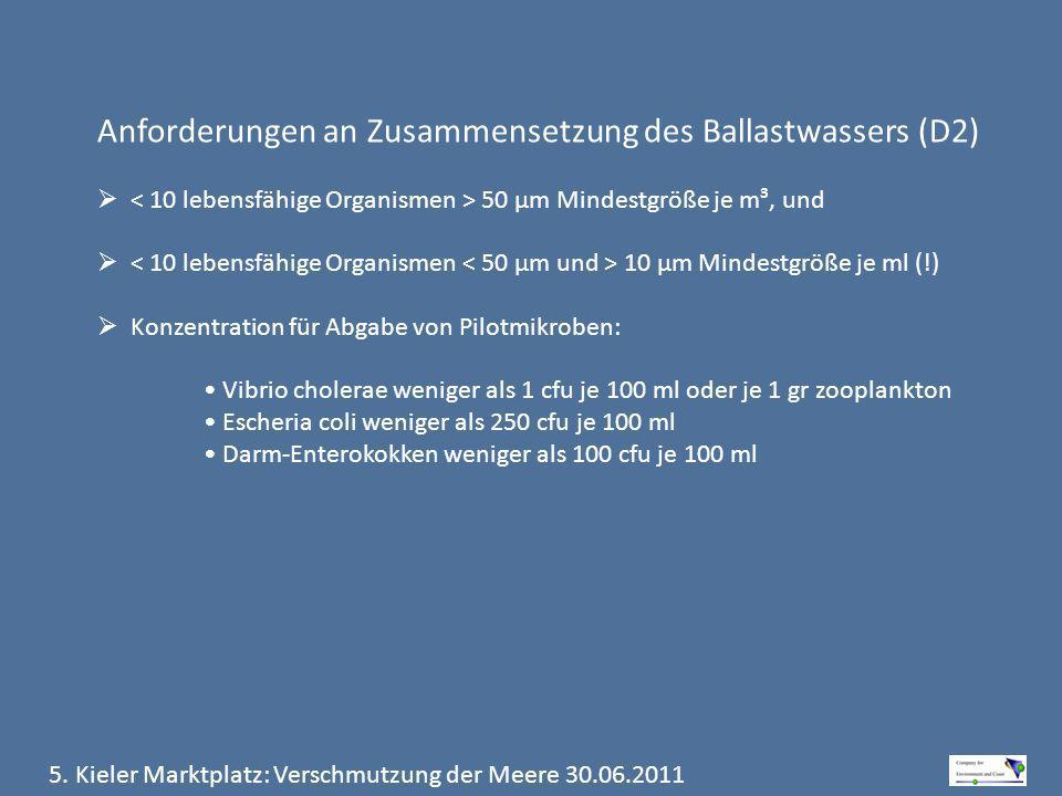 Anforderungen an Zusammensetzung des Ballastwassers (D2) 50 μm Mindestgröße je m³, und 10 μm Mindestgröße je ml (!) Konzentration für Abgabe von Pilot