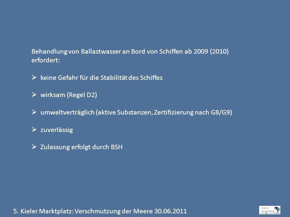 5. Kieler Marktplatz: Verschmutzung der Meere 30.06.2011 Behandlung von Ballastwasser an Bord von Schiffen ab 2009 (2010) erfordert: keine Gefahr für