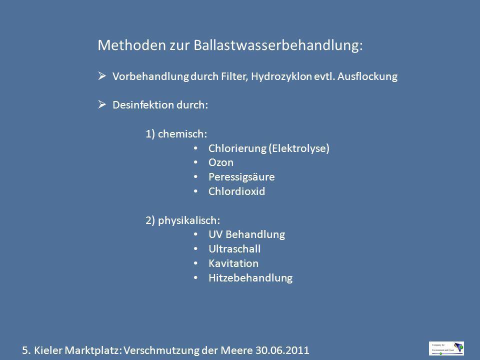 5. Kieler Marktplatz: Verschmutzung der Meere 30.06.2011 Methoden zur Ballastwasserbehandlung: Vorbehandlung durch Filter, Hydrozyklon evtl. Ausflocku