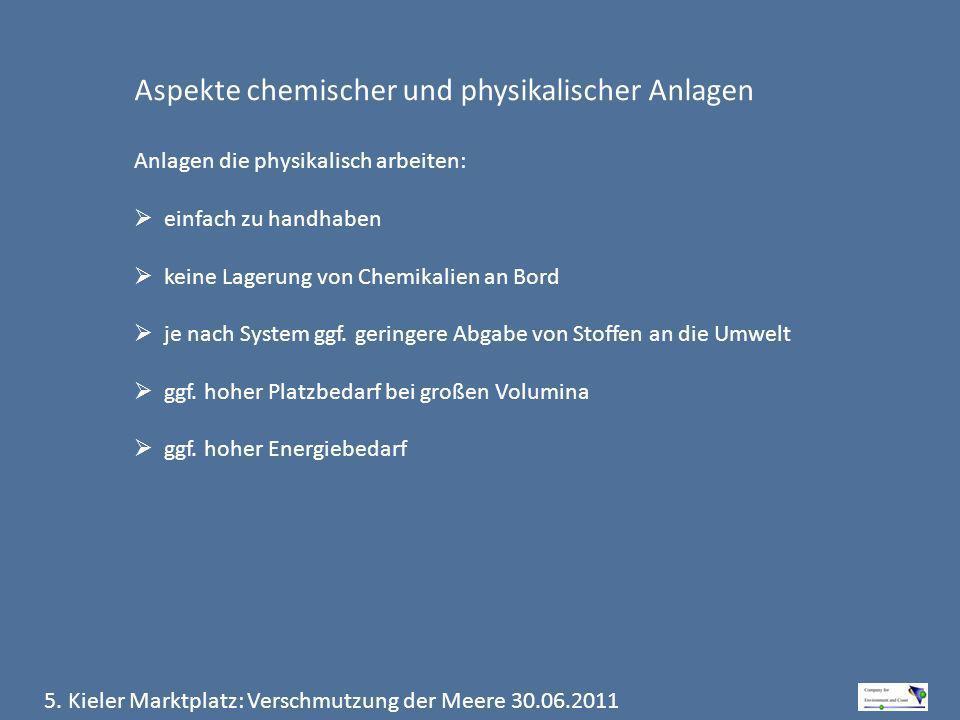 5. Kieler Marktplatz: Verschmutzung der Meere 30.06.2011 Aspekte chemischer und physikalischer Anlagen Anlagen die physikalisch arbeiten: einfach zu h