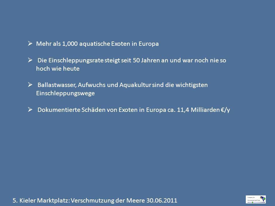 5. Kieler Marktplatz: Verschmutzung der Meere 30.06.2011 Mehr als 1,000 aquatische Exoten in Europa Die Einschleppungsrate steigt seit 50 Jahren an un