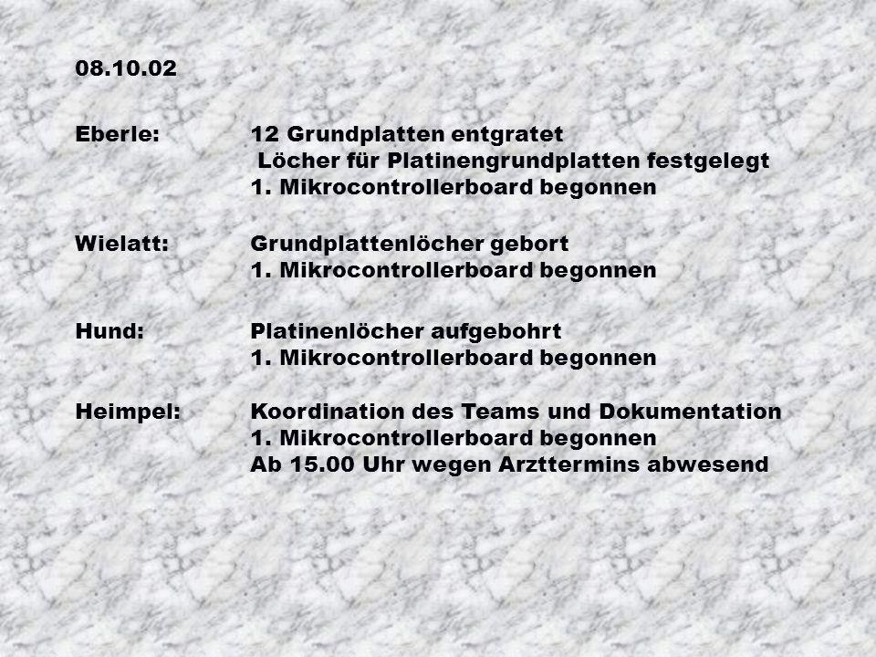 01.10.02 Besprechung des Terminplans Wahl der Sonderaufgaben: Verwaltung und Verteilung der Bauteile Herstellung der Kunststoffplatten für die MCB´s W