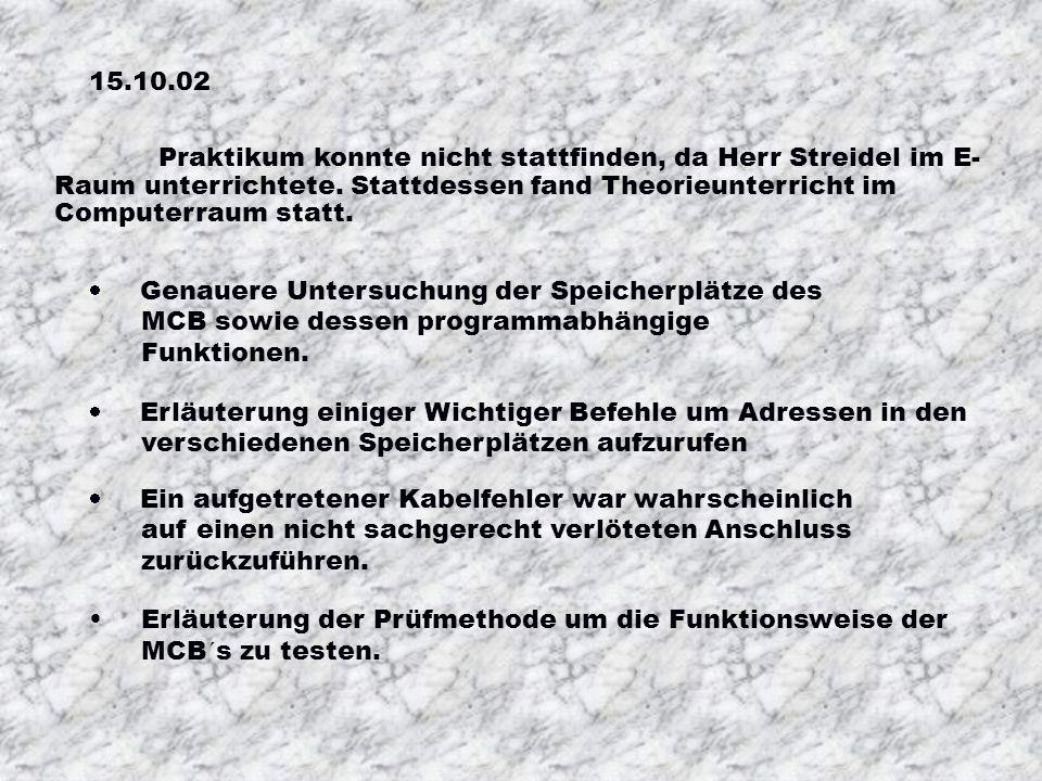 08.10.02 Eberle:12 Grundplatten entgratet Löcher für Platinengrundplatten festgelegt 1. Mikrocontrollerboard begonnen Wielatt:Grundplattenlöcher gebor