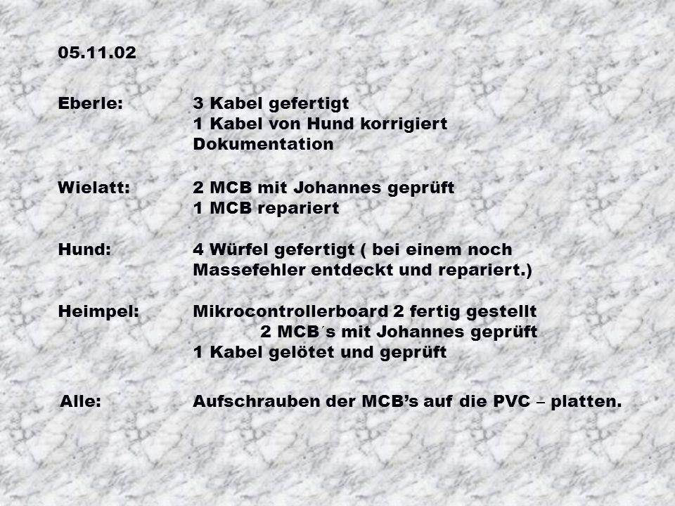 22.10.02 Eberle:Mikrocontrollerboard 1 fertig gestellt Hund: Mikrocontrollerboard 1 fertig gestellt 2 Würfel gefertigt Würfel Zumstein repariert. 1 Ka