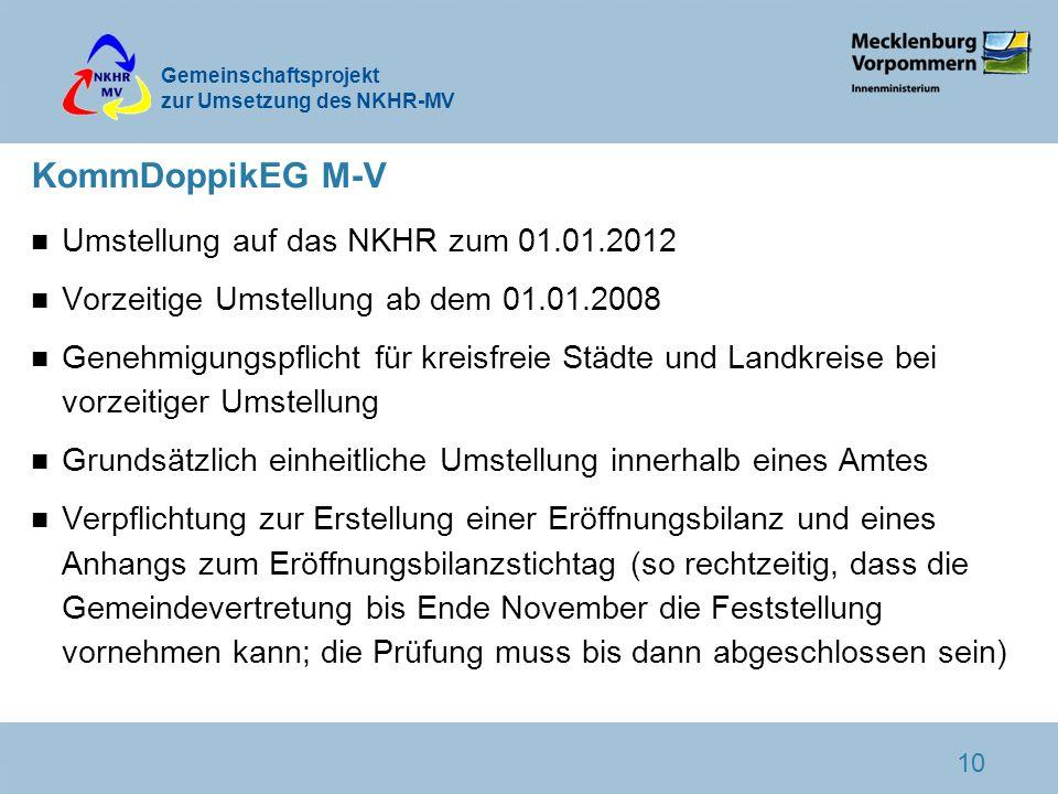 Gemeinschaftsprojekt zur Umsetzung des NKHR-MV 10 KommDoppikEG M-V n Umstellung auf das NKHR zum 01.01.2012 n Vorzeitige Umstellung ab dem 01.01.2008