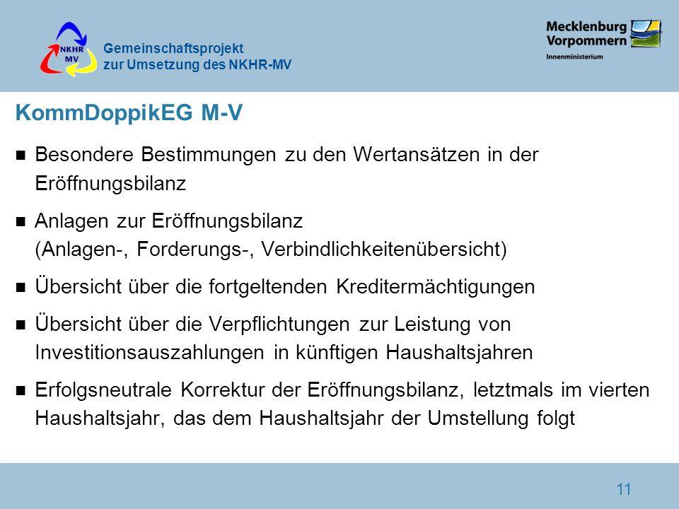 Gemeinschaftsprojekt zur Umsetzung des NKHR-MV 11 KommDoppikEG M-V n Besondere Bestimmungen zu den Wertansätzen in der Eröffnungsbilanz n Anlagen zur