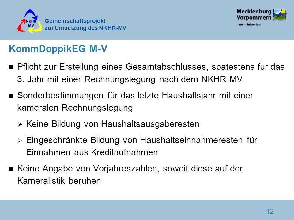 Gemeinschaftsprojekt zur Umsetzung des NKHR-MV 12 KommDoppikEG M-V n Pflicht zur Erstellung eines Gesamtabschlusses, spätestens für das 3. Jahr mit ei