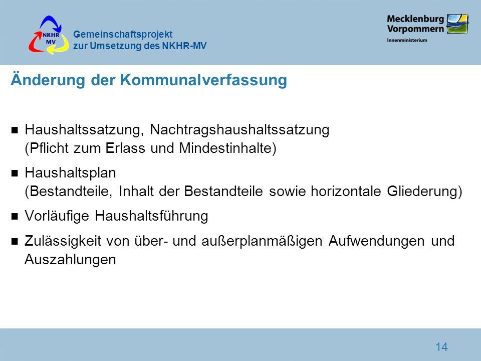 Gemeinschaftsprojekt zur Umsetzung des NKHR-MV 14 Änderung der Kommunalverfassung n Haushaltssatzung, Nachtragshaushaltssatzung (Pflicht zum Erlass un