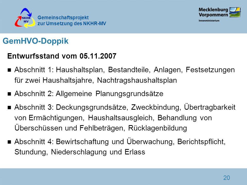Gemeinschaftsprojekt zur Umsetzung des NKHR-MV 20 GemHVO-Doppik Entwurfsstand vom 05.11.2007 n Abschnitt 1: Haushaltsplan, Bestandteile, Anlagen, Fest