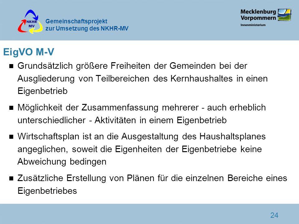 Gemeinschaftsprojekt zur Umsetzung des NKHR-MV 24 EigVO M-V n Grundsätzlich größere Freiheiten der Gemeinden bei der Ausgliederung von Teilbereichen d