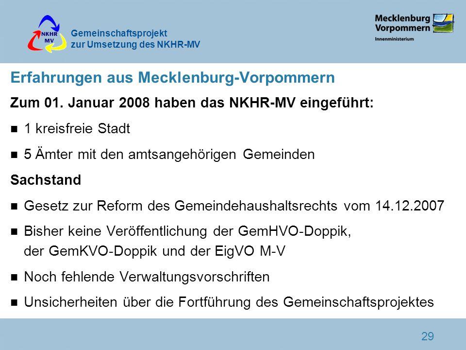 Gemeinschaftsprojekt zur Umsetzung des NKHR-MV 29 Erfahrungen aus Mecklenburg-Vorpommern Zum 01. Januar 2008 haben das NKHR-MV eingeführt: n 1 kreisfr