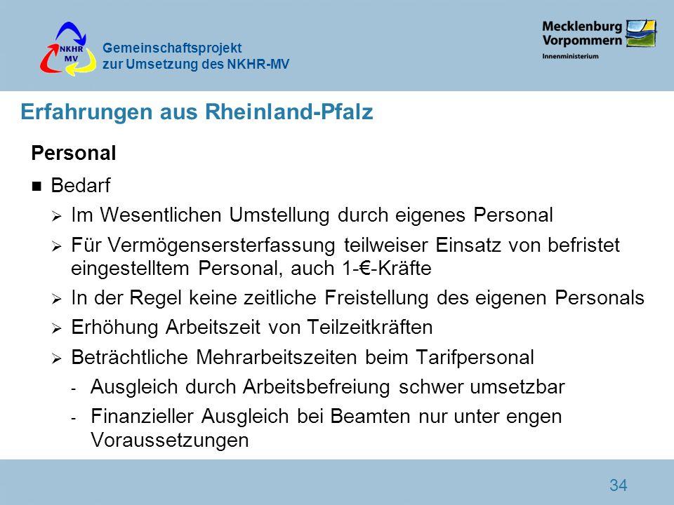 Gemeinschaftsprojekt zur Umsetzung des NKHR-MV 34 Erfahrungen aus Rheinland-Pfalz Personal n Bedarf Im Wesentlichen Umstellung durch eigenes Personal