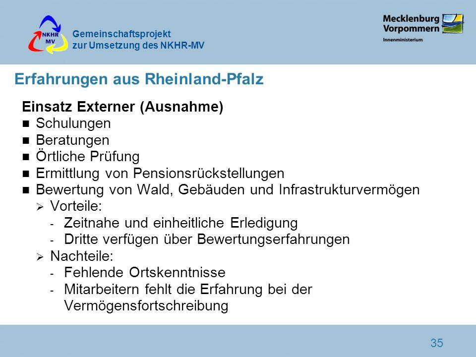 Gemeinschaftsprojekt zur Umsetzung des NKHR-MV 35 Erfahrungen aus Rheinland-Pfalz Einsatz Externer (Ausnahme) n Schulungen n Beratungen n Örtliche Prü