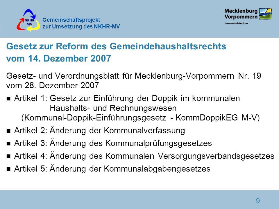 Gemeinschaftsprojekt zur Umsetzung des NKHR-MV 9 Gesetz zur Reform des Gemeindehaushaltsrechts vom 14. Dezember 2007 Gesetz- und Verordnungsblatt für