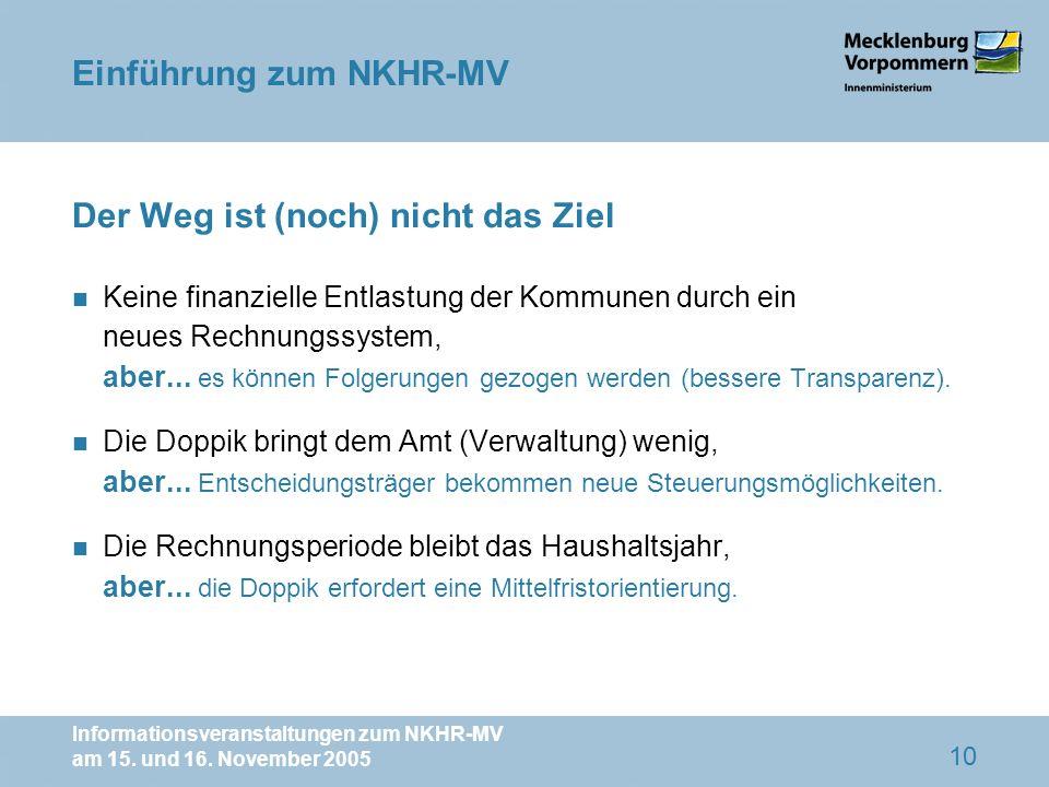 Informationsveranstaltungen zum NKHR-MV am 15. und 16. November 2005 10 Der Weg ist (noch) nicht das Ziel n Keine finanzielle Entlastung der Kommunen