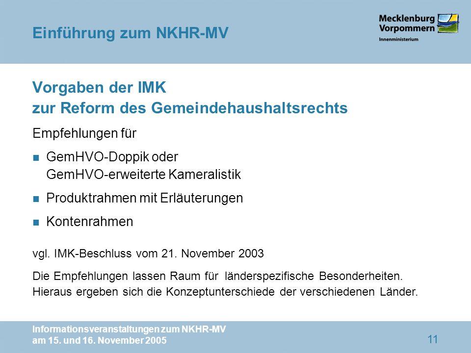 Informationsveranstaltungen zum NKHR-MV am 15. und 16. November 2005 11 Vorgaben der IMK zur Reform des Gemeindehaushaltsrechts Empfehlungen für n Gem