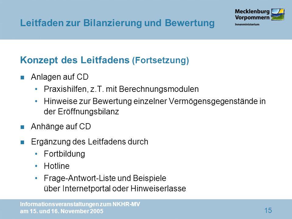 Informationsveranstaltungen zum NKHR-MV am 15. und 16. November 2005 15 Konzept des Leitfadens (Fortsetzung) n Anlagen auf CD Praxishilfen, z.T. mit B