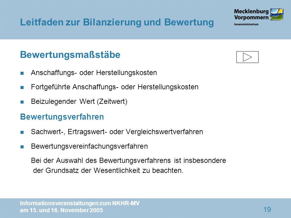 Informationsveranstaltungen zum NKHR-MV am 15. und 16. November 2005 19 Bewertungsmaßstäbe n Anschaffungs- oder Herstellungskosten n Fortgeführte Ansc