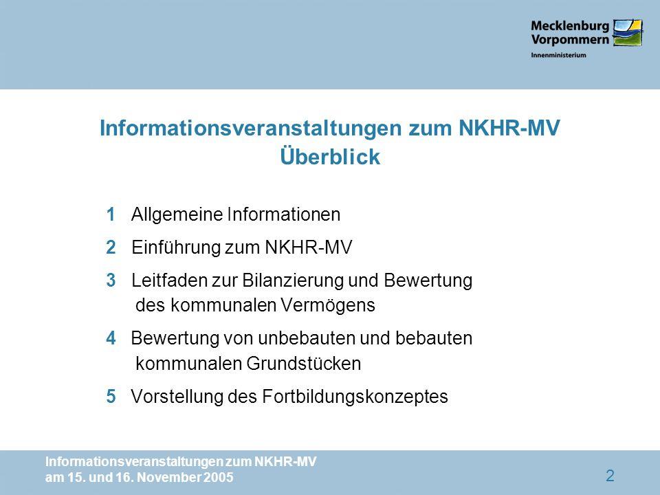 Informationsveranstaltungen zum NKHR-MV am 15. und 16. November 2005 2 Informationsveranstaltungen zum NKHR-MV Überblick 1 Allgemeine Informationen 2