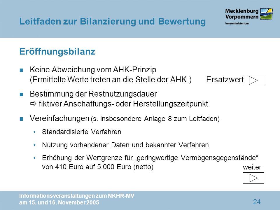 Informationsveranstaltungen zum NKHR-MV am 15. und 16. November 2005 24 Eröffnungsbilanz n Keine Abweichung vom AHK-Prinzip (Ermittelte Werte treten a
