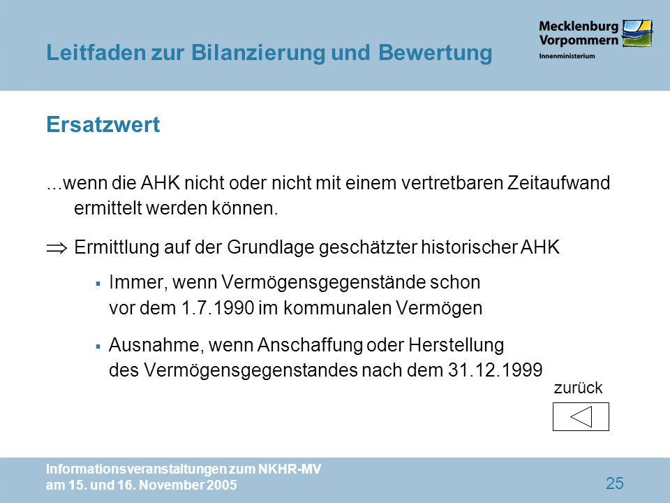 Informationsveranstaltungen zum NKHR-MV am 15. und 16. November 2005 25 Ersatzwert...wenn die AHK nicht oder nicht mit einem vertretbaren Zeitaufwand