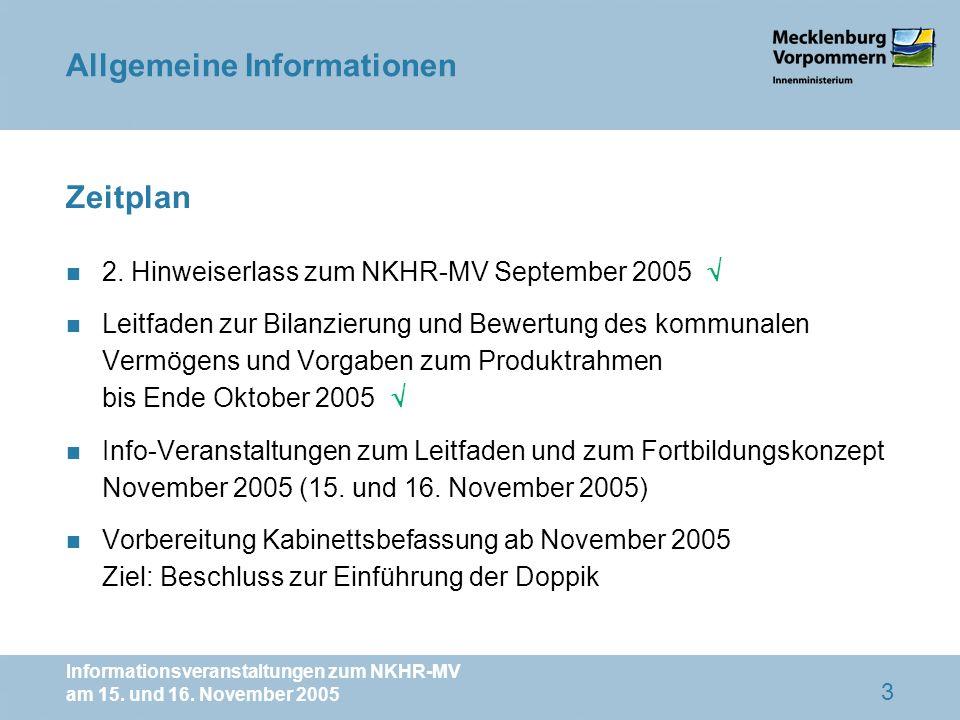 Informationsveranstaltungen zum NKHR-MV am 15. und 16. November 2005 3 Zeitplan n 2. Hinweiserlass zum NKHR-MV September 2005 n Leitfaden zur Bilanzie
