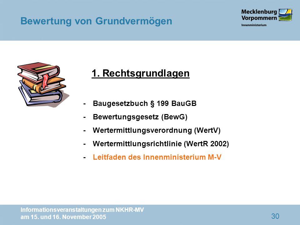 Informationsveranstaltungen zum NKHR-MV am 15. und 16. November 2005 30 1. Rechtsgrundlagen -Baugesetzbuch § 199 BauGB -Bewertungsgesetz (BewG) -Werte