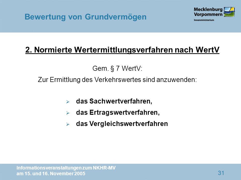 Informationsveranstaltungen zum NKHR-MV am 15. und 16. November 2005 31 2. Normierte Wertermittlungsverfahren nach WertV Gem. § 7 WertV: Zur Ermittlun