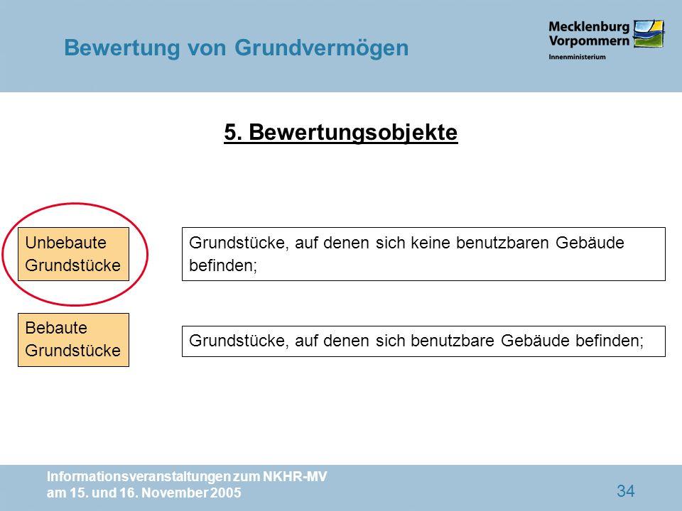 Informationsveranstaltungen zum NKHR-MV am 15. und 16. November 2005 34 Unbebaute Grundstücke Bebaute Grundstücke Grundstücke, auf denen sich keine be