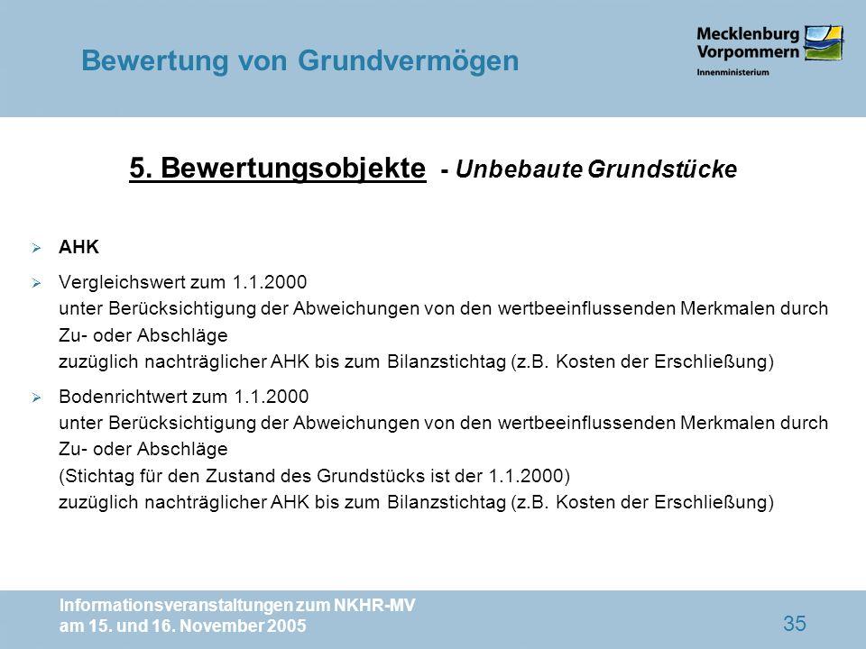 Informationsveranstaltungen zum NKHR-MV am 15. und 16. November 2005 35 AHK Vergleichswert zum 1.1.2000 unter Berücksichtigung der Abweichungen von de