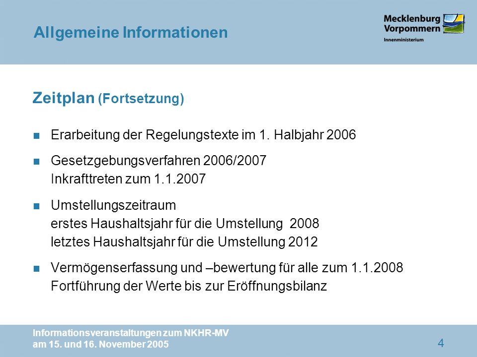 Informationsveranstaltungen zum NKHR-MV am 15. und 16. November 2005 4 Zeitplan (Fortsetzung) n Erarbeitung der Regelungstexte im 1. Halbjahr 2006 n G