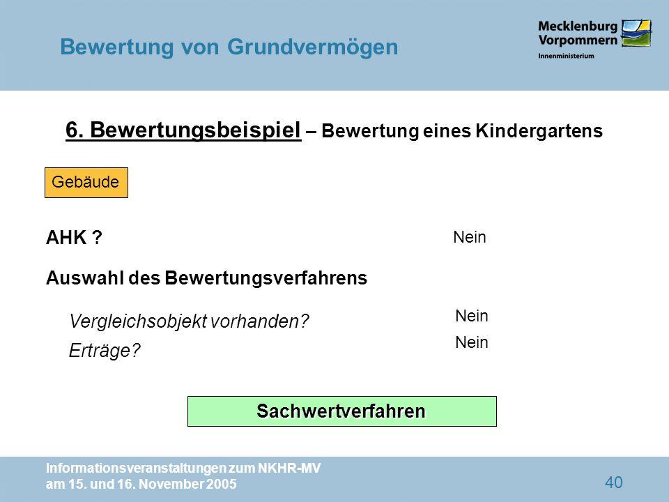 Informationsveranstaltungen zum NKHR-MV am 15. und 16. November 2005 40 6. Bewertungsbeispiel – Bewertung eines Kindergartens AHK ? Nein Vergleichsobj
