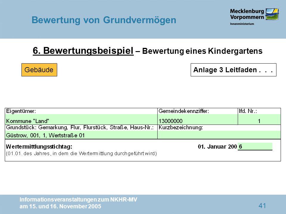Informationsveranstaltungen zum NKHR-MV am 15. und 16. November 2005 41 6. Bewertungsbeispiel – Bewertung eines Kindergartens GebäudeAnlage 3 Leitfade