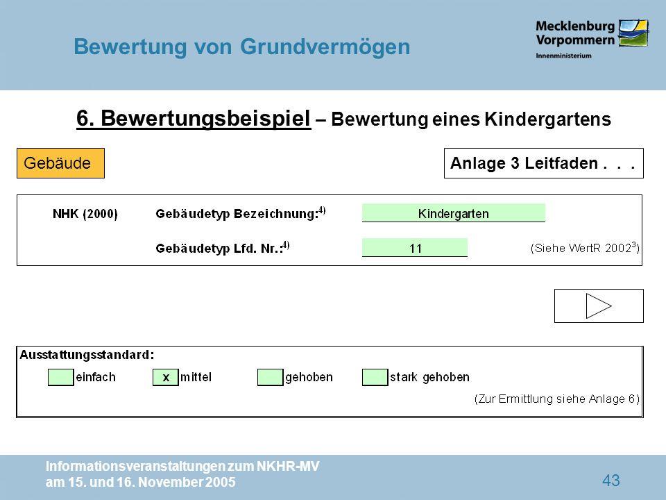 Informationsveranstaltungen zum NKHR-MV am 15. und 16. November 2005 43 6. Bewertungsbeispiel – Bewertung eines Kindergartens GebäudeAnlage 3 Leitfade