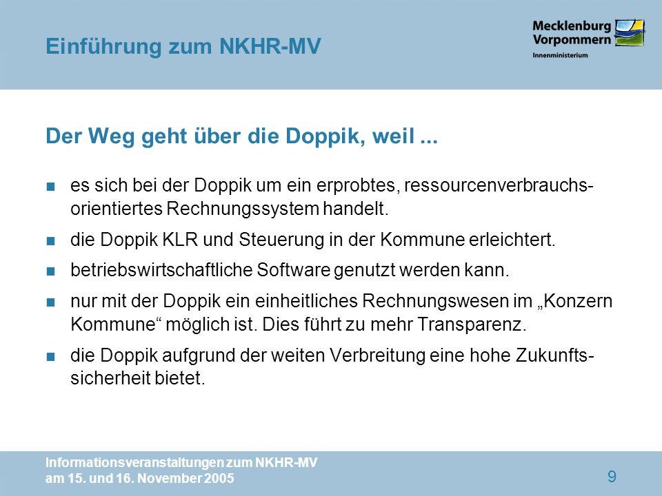 Informationsveranstaltungen zum NKHR-MV am 15. und 16. November 2005 9 Der Weg geht über die Doppik, weil... n es sich bei der Doppik um ein erprobtes