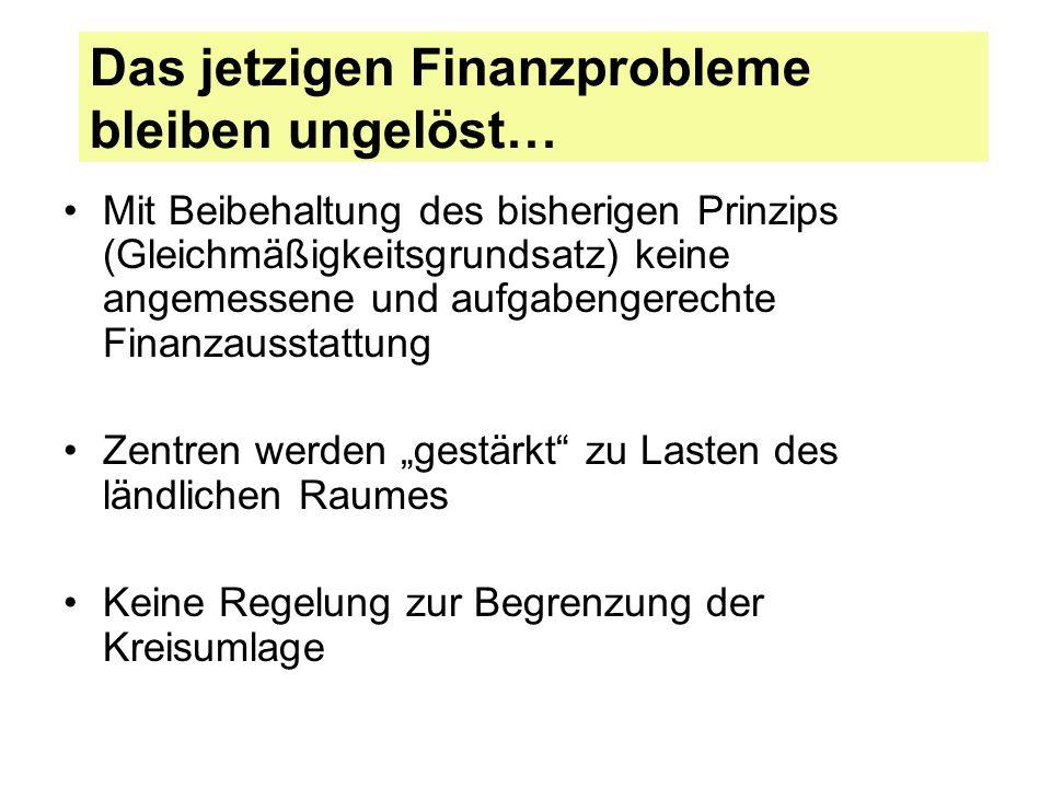 Das jetzigen Finanzprobleme bleiben ungelöst… Mit Beibehaltung des bisherigen Prinzips (Gleichmäßigkeitsgrundsatz) keine angemessene und aufgabengerec