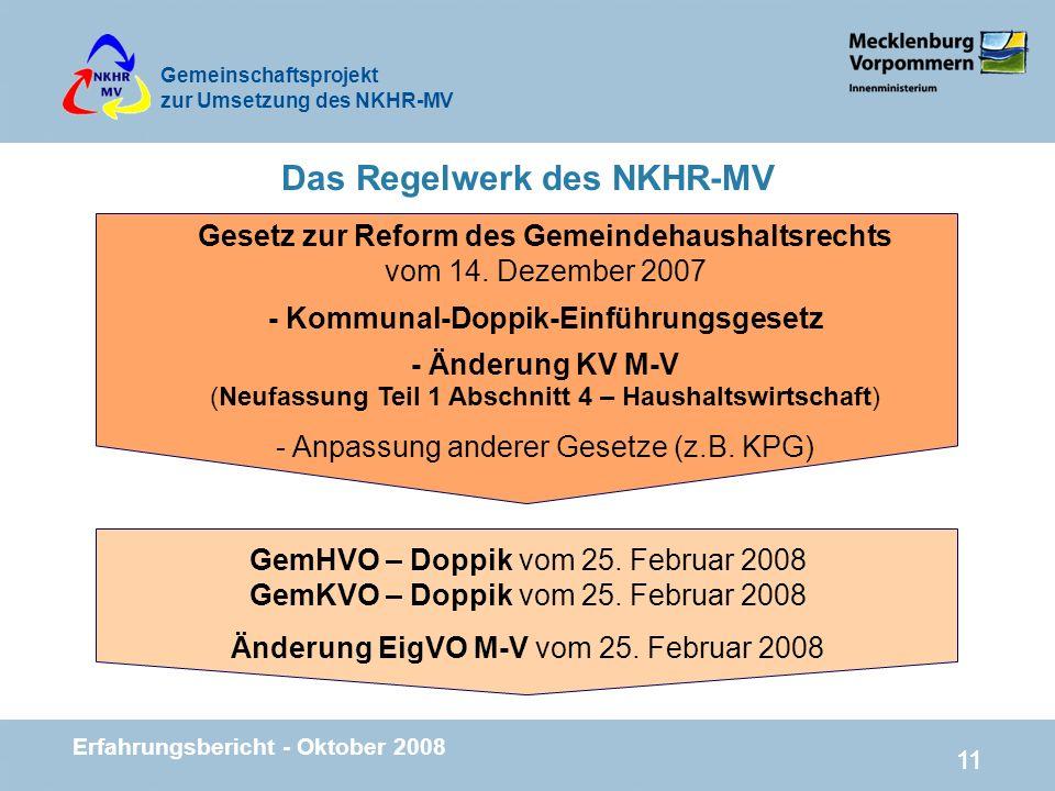 Gemeinschaftsprojekt zur Umsetzung des NKHR-MV Erfahrungsbericht - Oktober 2008 11 Das Regelwerk des NKHR-MV Gesetz zur Reform des Gemeindehaushaltsre
