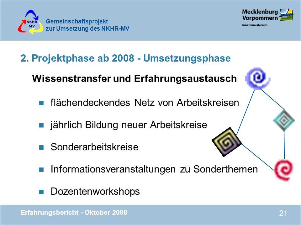 Gemeinschaftsprojekt zur Umsetzung des NKHR-MV Erfahrungsbericht - Oktober 2008 21 Wissenstransfer und Erfahrungsaustausch n flächendeckendes Netz von