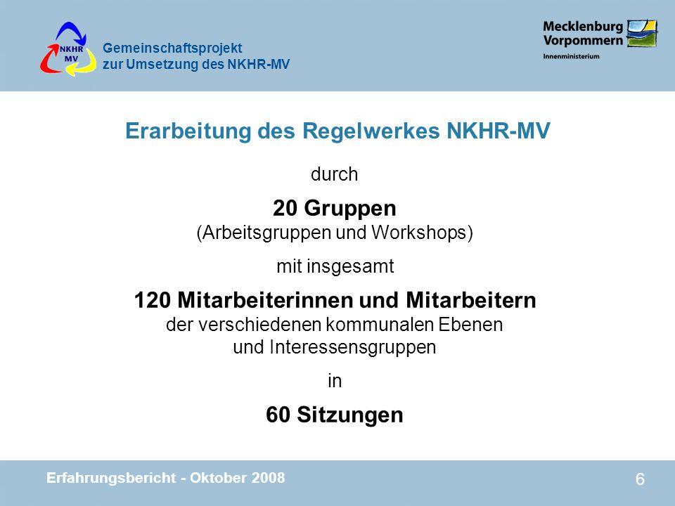 Gemeinschaftsprojekt zur Umsetzung des NKHR-MV Erfahrungsbericht - Oktober 2008 17 Entwicklung in den anderen Bundesländern n Zum 1.1.