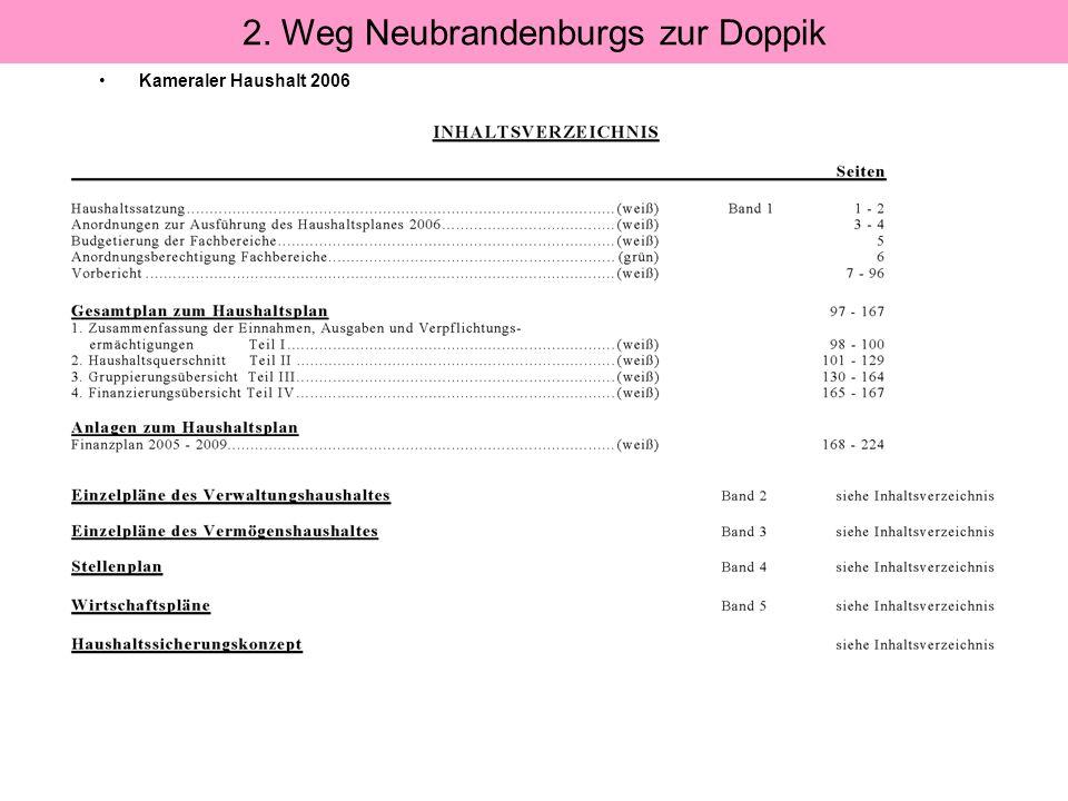 Kameraler Haushalt 2006 2. Weg Neubrandenburgs zur Doppik