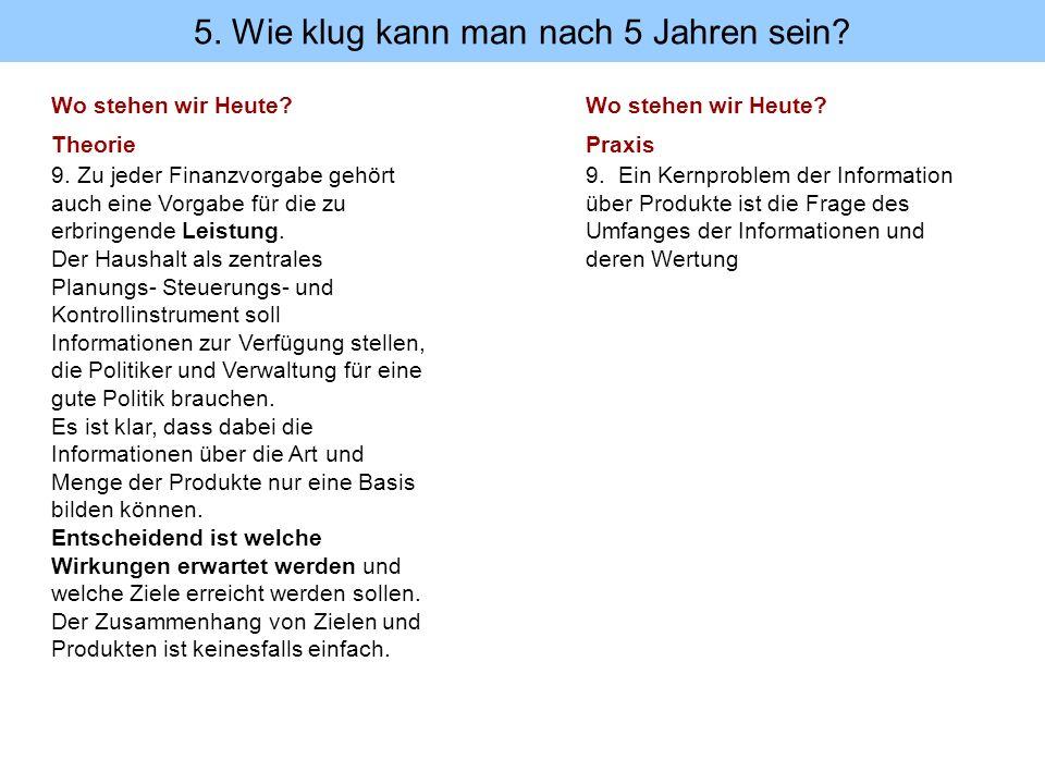 Wo stehen wir Heute? Theorie 9. Zu jeder Finanzvorgabe gehört auch eine Vorgabe für die zu erbringende Leistung. Der Haushalt als zentrales Planungs-